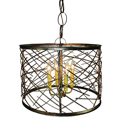 Iron Twig Chandelier, Gold