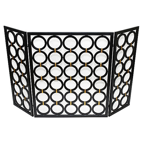 "52"" Ivy Three-Panel Fireplace Screen, Black/Gold"