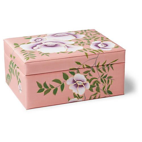 "21"" Chintz Silk Box, Pink/Multi"