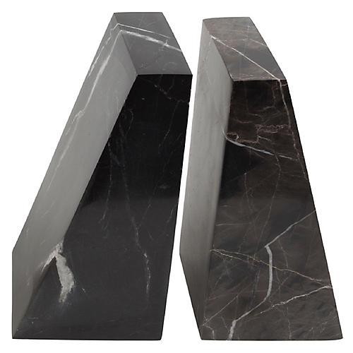 """S/2 18"""" Marble Bookends, Black"""