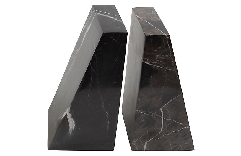 S/2 Marble Bookends, Black