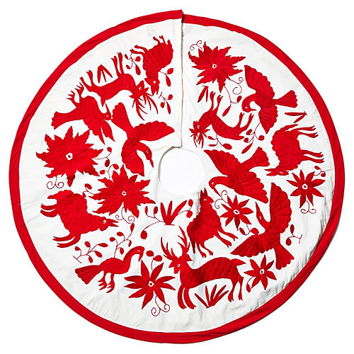 Noel Tree Skirt, Red/White