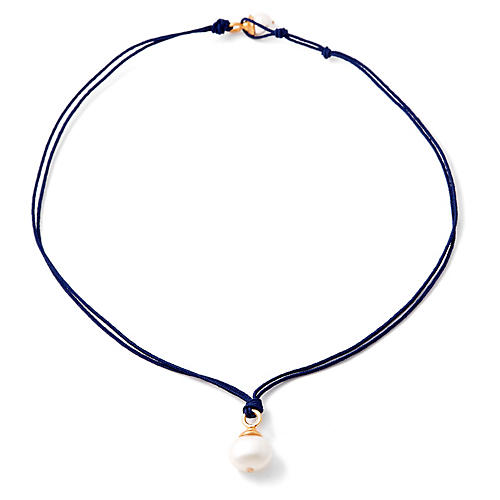 Pearl Raye Necklace, Navy/White