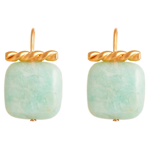 Cati Drop Earrings, Light Blue/Gold