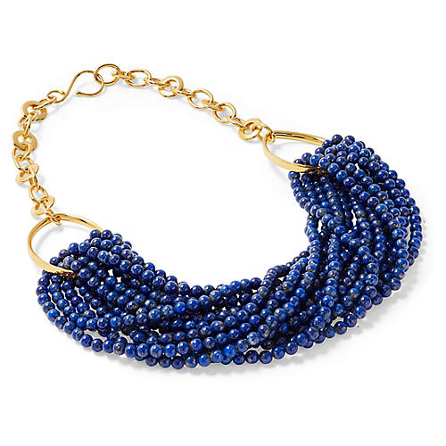 Lapis Twisted Torsade Necklace