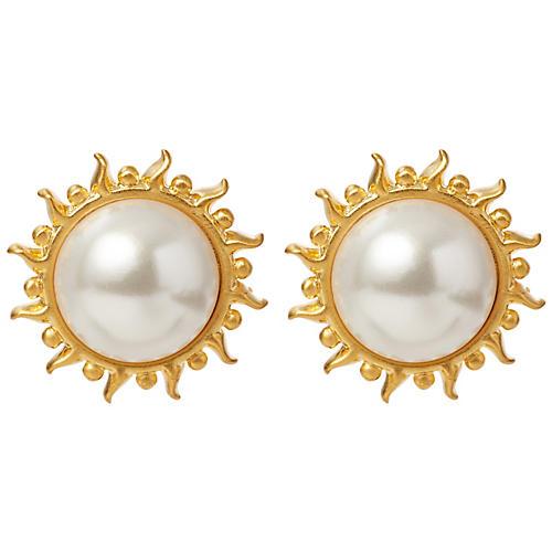Mother-of-Pearl Sunflower Stud Earrings
