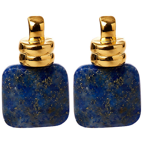 Lapis Scoop Drop Earrings