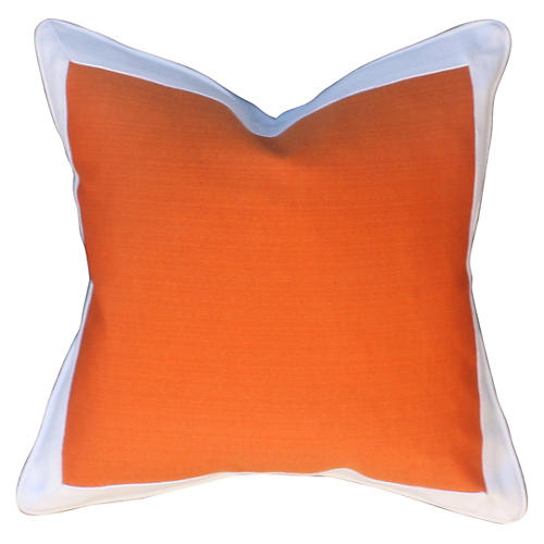 Crisp 22x22 Cotton-Blend Pillow, Orange