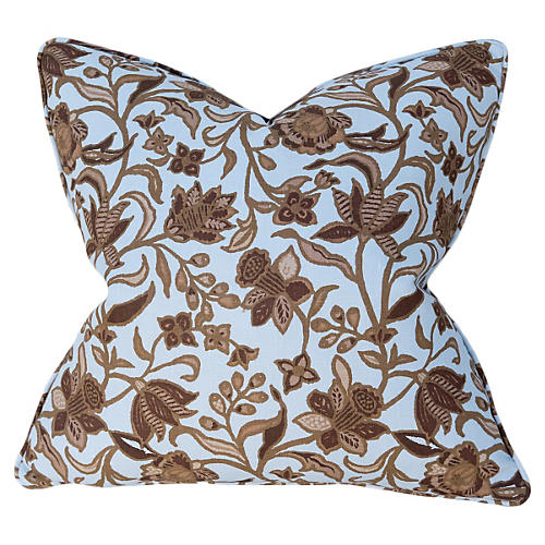 Floral 22x22 Pillow, Blue/Chocolate