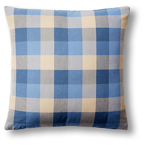 Foursquare Plaid 22x22 Pillow, Blue