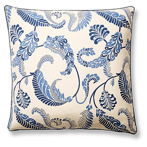 Malta 22x22 Pillow, Blue/Cream
