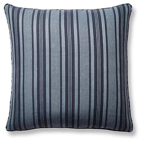 Decking Stripe 22x22 Pillow, Indigo