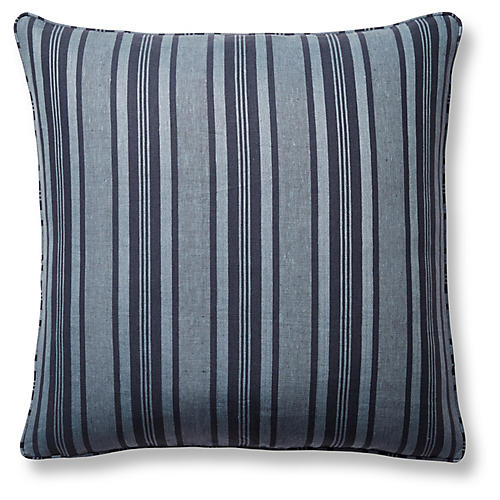 Decking Stripe 22x22 Pillow, Indigo Linen