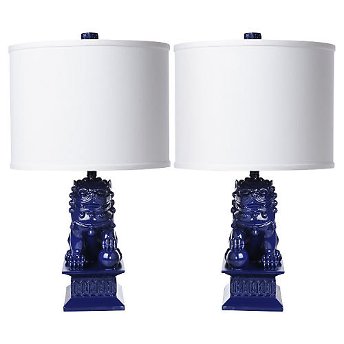 S/2 Mini Foo Dog Table Lamps, Navy