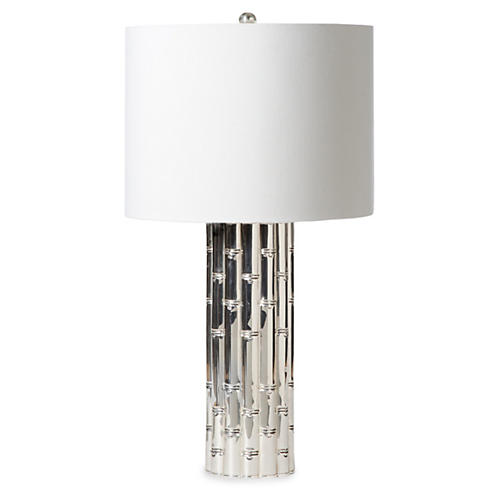 Bamboo Table Lamp, Nickel