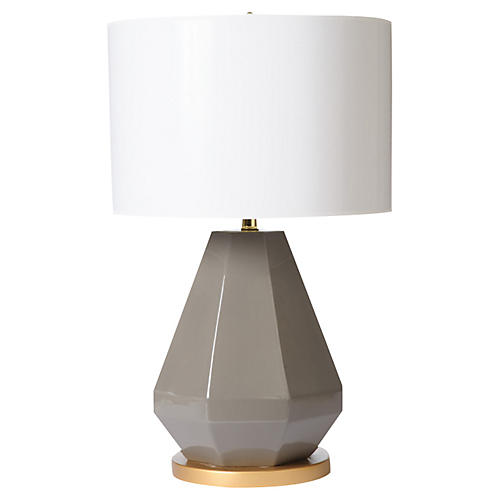 Jewel-Cut Table Lamp, Gray