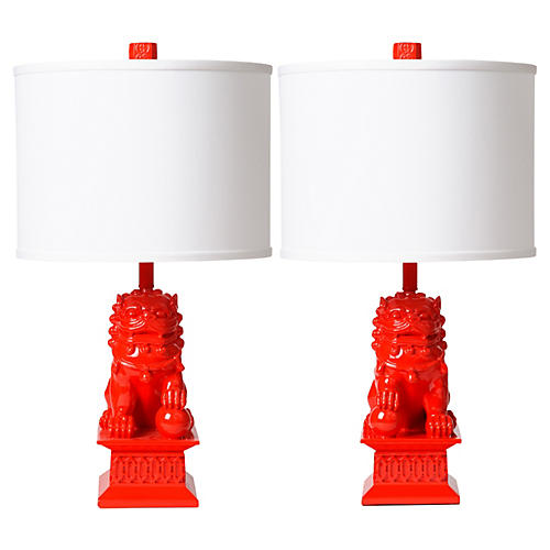 S/2 Foo Dog Table Lamps, Apple Red