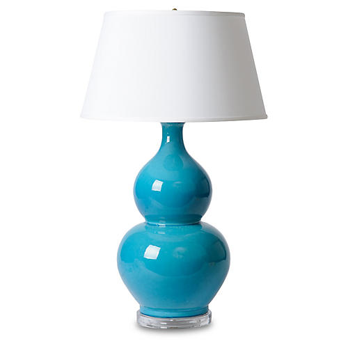 XL Double-Gourd Table Lamp, Turquoise