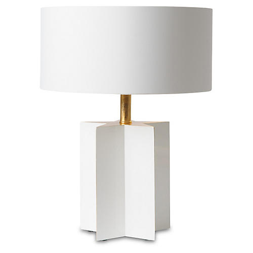 Petite Star Cut Table Lamp, Glossy White