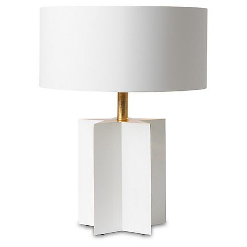 Petite Star Cut Table Lamp, Glossy White