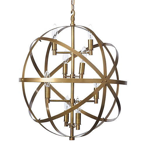 Sphere Pendant, Antiqued Brass