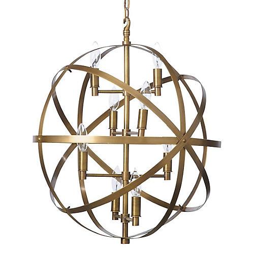 Sphere Pendant, Antiqued Brass