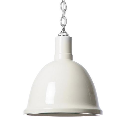 Hand-Glazed Ceramic Pendant, White/Silver