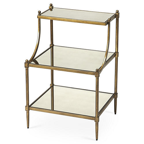 Diana Tiered Mirror Side Table, Gold