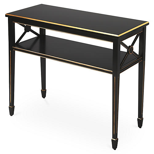"Jireh 34"" Console, Black/Gold"