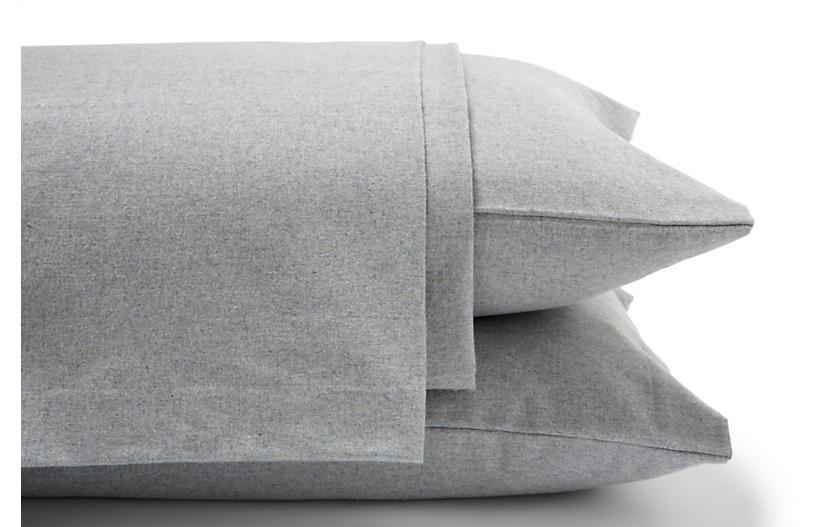 Heathered Flannel Sheet Set, Gray