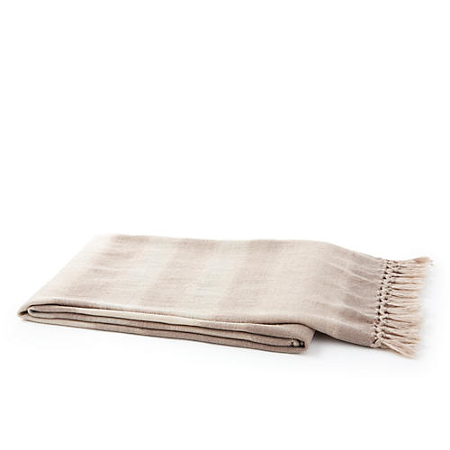 Missing Weave Throw, Ecru/Taupe