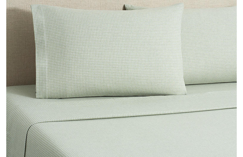 Flannel Gingham Sheet Set - Sage - Belle Epoque - Full