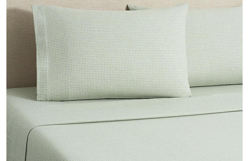 Flannel Gingham Sheet Set - Sage - Belle Epoque - Full