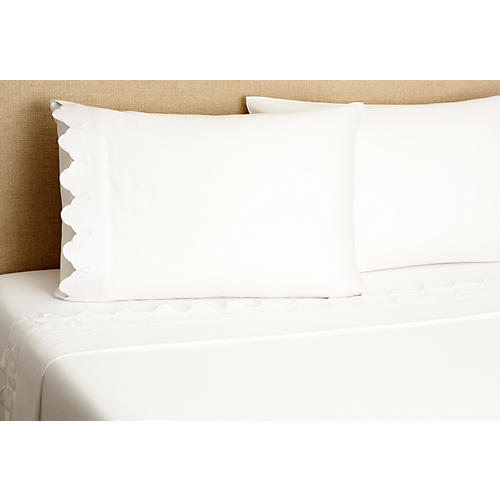 Scallop Sheet Set, White