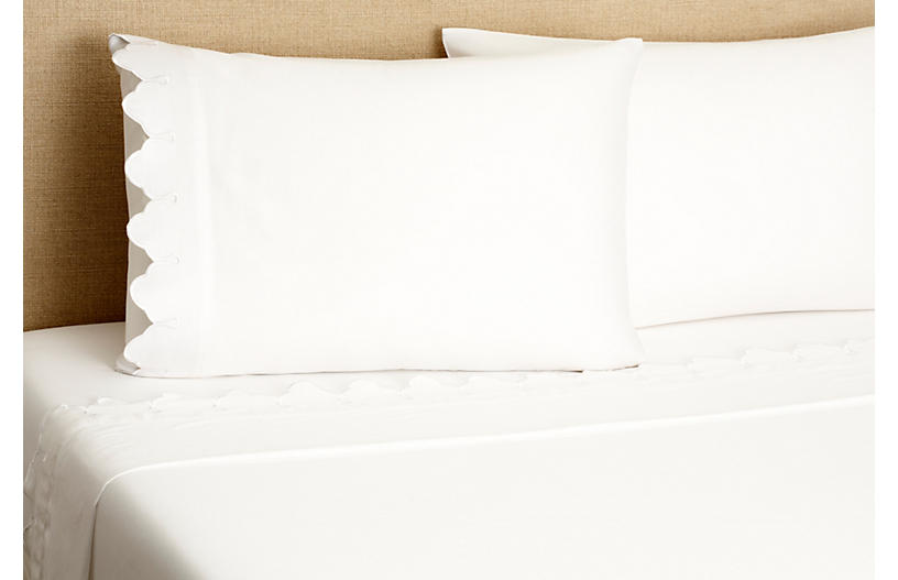 Scallop Sheet Set, White