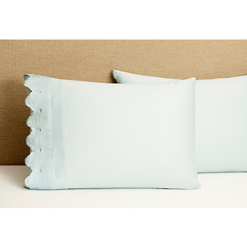 S/2 Std Scallop Pillowcases, Blue