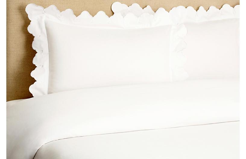 Scallop Duvet Set, White