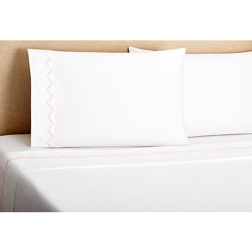 Francesa Scalloped Sheet Set, Pink