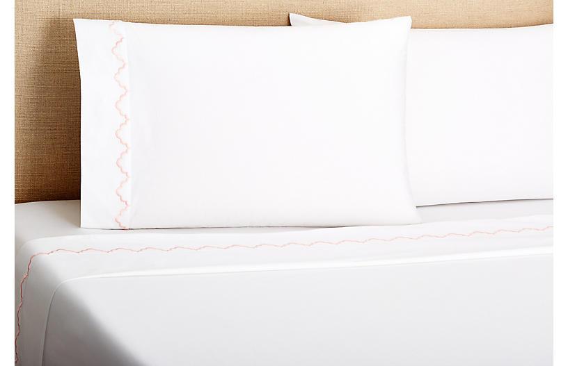 Francesa Scalloped Sheet Set, Pink