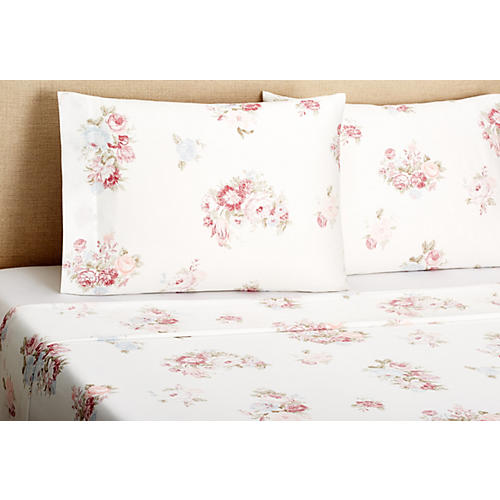 Vintage-Style Sheet Set, Rose