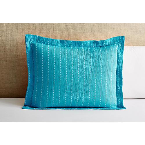 Skip Stitch Sham, Blue
