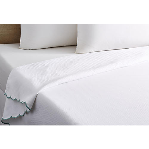 Isabel Scalloped Coverlet, Green