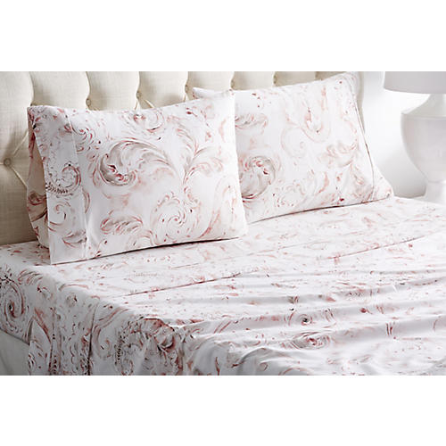 Autumn Flower Sheet Set, Red