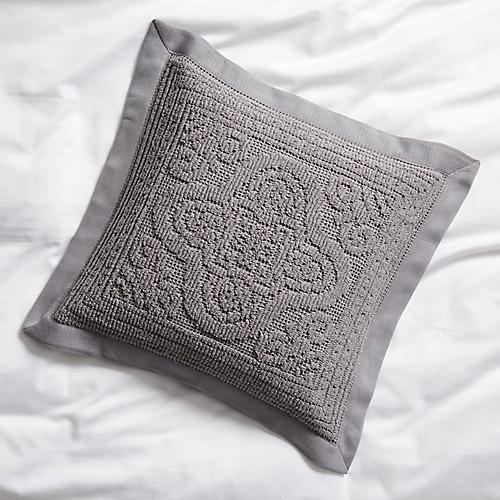 Medallion Throw Sham, Charcoal