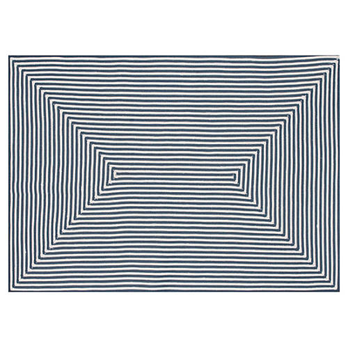 Leah Outdoor Rug, Blue/Ivory