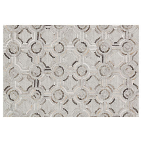 Simone Hide Rug, Gray/Multi