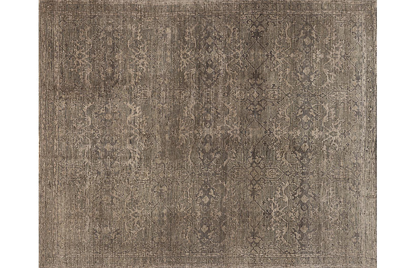 Chapell Hand-Knotted Rug, Fog/Beige