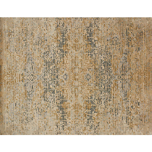 Reign Hand-Knotted Rug, Beige/Ocean