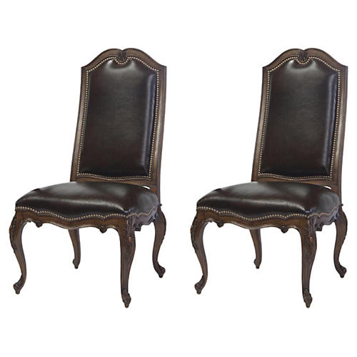 Wenge Leyland Leather Side Chairs, Pair