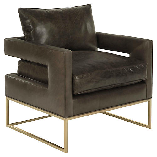 Bevin Chair, Truffle Leather